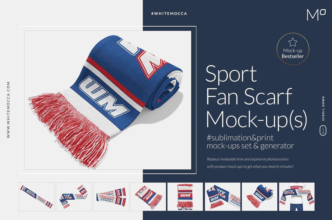 Download Sports Fan Scarf Mock Ups Generator Mocking Marketing Words Mockup