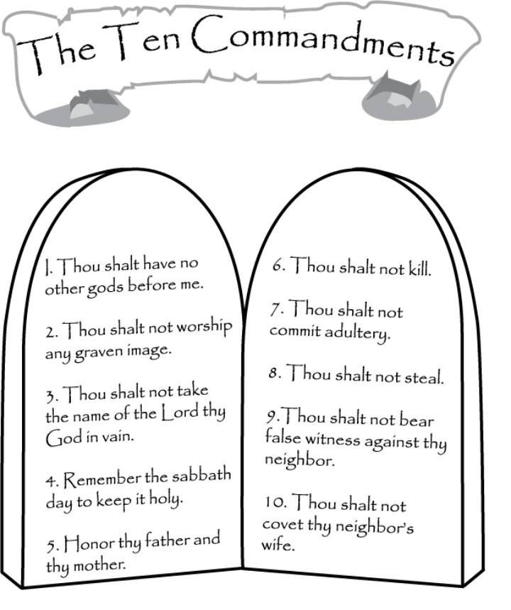 Ten Commandment Coloring Pages For Kids