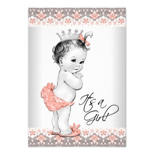 vintage peach and gray baby girl shower card | gray, paper and,