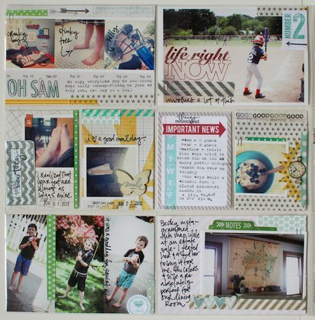 There goes amazing Lisa Truesdell (June's Studio AE Guest) making her amazing Project Life pages again. We spy some Studio AE stamps from 2012 (and from TechniqueTuesday.com) on this one!