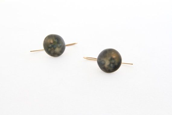 charcoal grey resin earrings by sznnesquires on Etsy