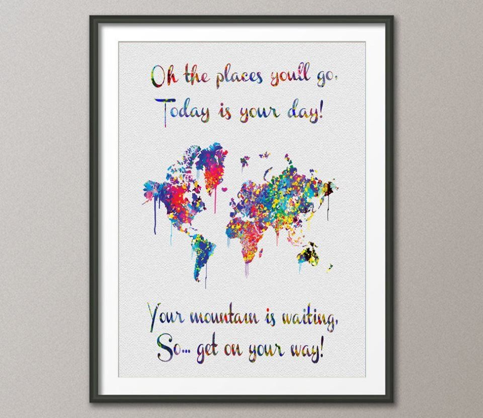 Watercolor world map dr seuss quote art print wall wedding gift watercolor world map dr seuss quote art print wall wedding gift poster giclee wall decor art gumiabroncs Gallery