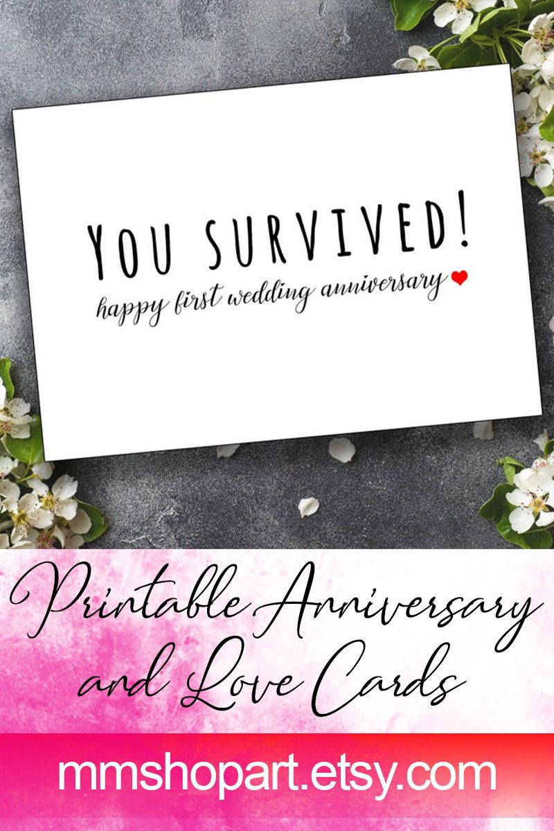 Funny 1st Wedding Anniversary Card You Survived Card 1 Year Wedding Anniversary Happy Couple Card First Anniversary For The Married Couple 1st Wedding Anniversary Wedding Anniversary Cards Anniversary Funny