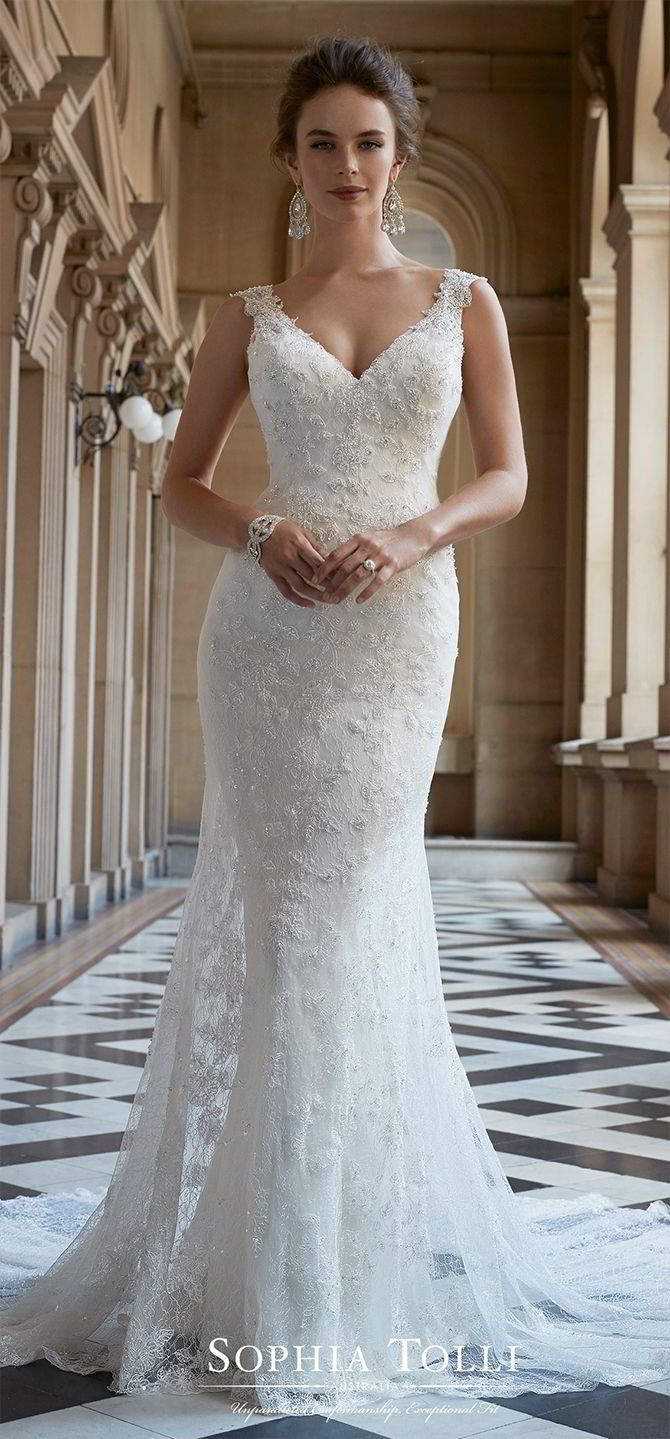 a2982716e79d Lace V-neck wedding dress with illusion back. Sleeveless soft tulle and  allover soft lace with beaded lace appliqué slim fit and flare gown with  embellished ...
