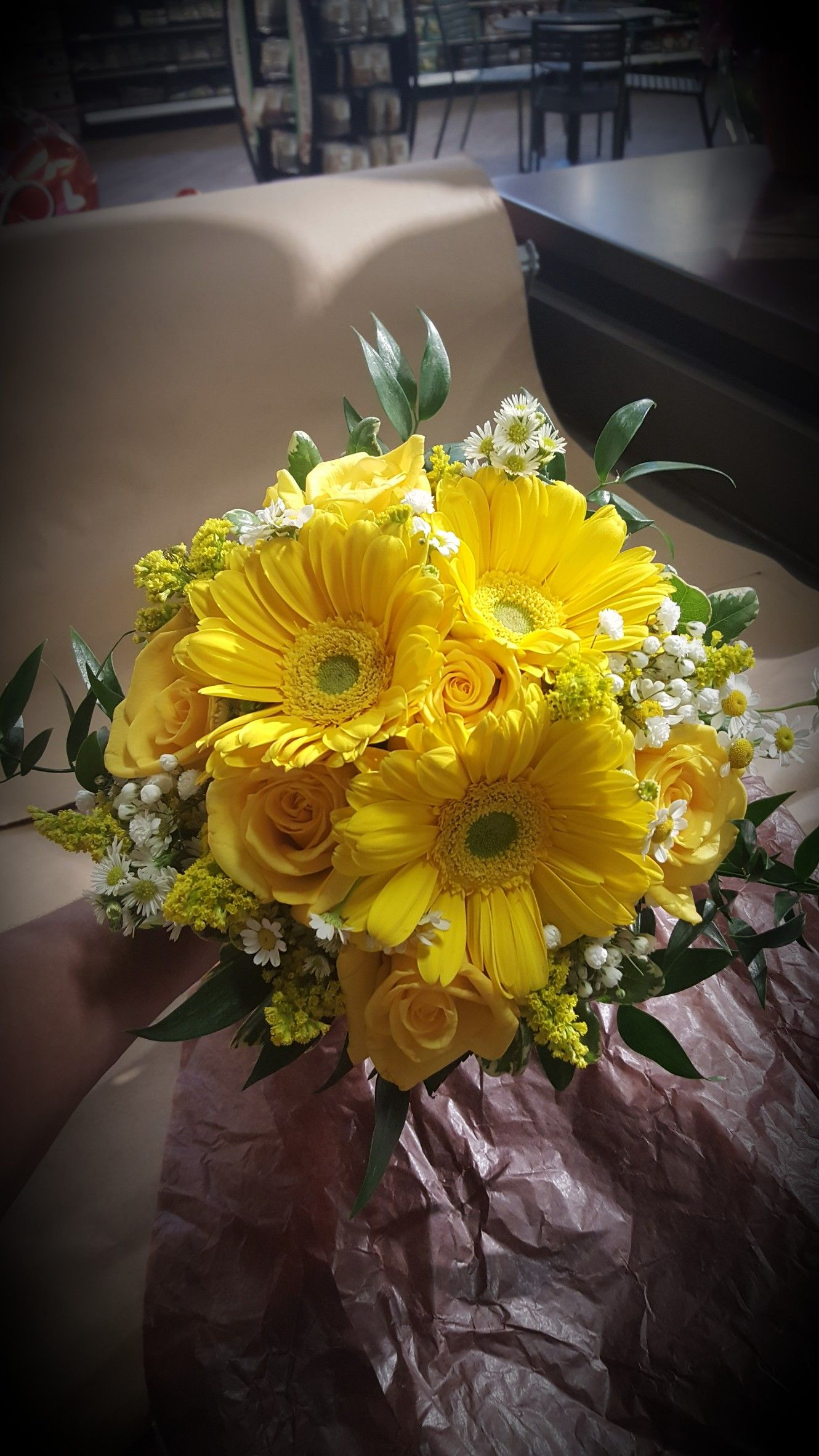 Gerbera daisy yellow rose monte chamomile and solidago bridal gerbera daisy yellow rose monte chamomile and solidago bridal bouquet izmirmasajfo