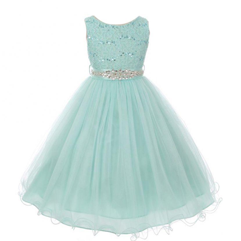 Big Girls Aqua Stretch Lace Glitter Stone Sash Junior Bridesmaid Dress 8-14