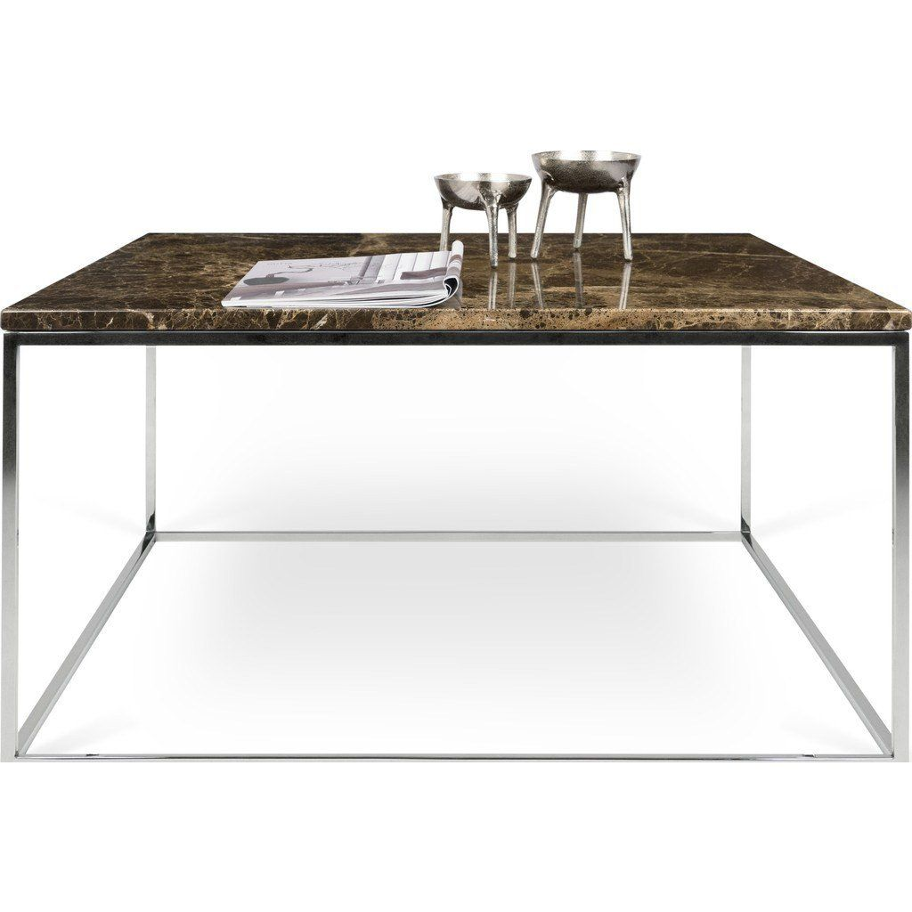 Temahome Gleam 30 X30 Marble Coffee Table Brown Marble Chrome