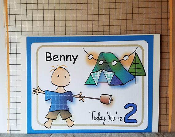 Personalized 1st Birthday Card For Him Camping Birthday Card For