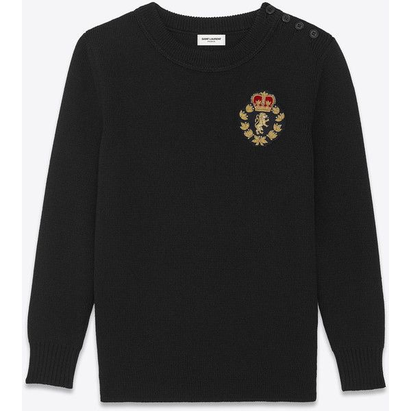 Saint Laurent Classic Schoolboy Crewneck Sweater ($780) ❤ liked on Polyvore featuring men's fashion, men's clothing, men's sweaters, mens ribbed sweater, mens crewneck sweaters, mens elbow patch sweater and mens crew neck sweaters