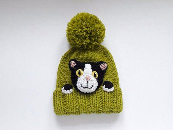 Sombrero de gatito, sombrero de gato de punto, regalo de los amantes del gato, sombrero pompón, gorro de punto, aplique de gato, traje de los niños, traje de invierno, sombrero lindo, accesorios de invierno #kidsmessyhats