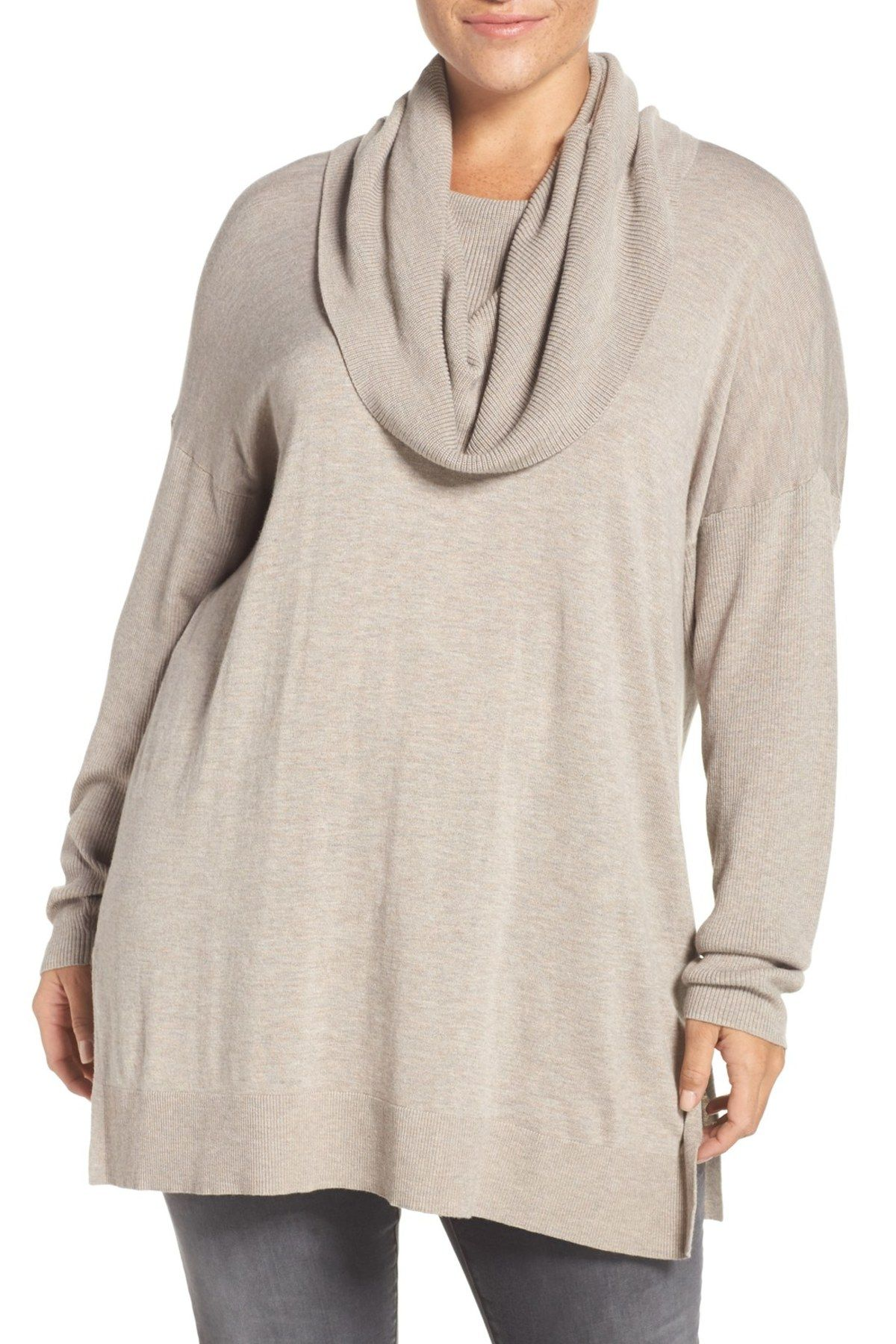 Cowl Neck Tunic Sweater (Plus Size) | Tunic sweater, Cowl neck and ...