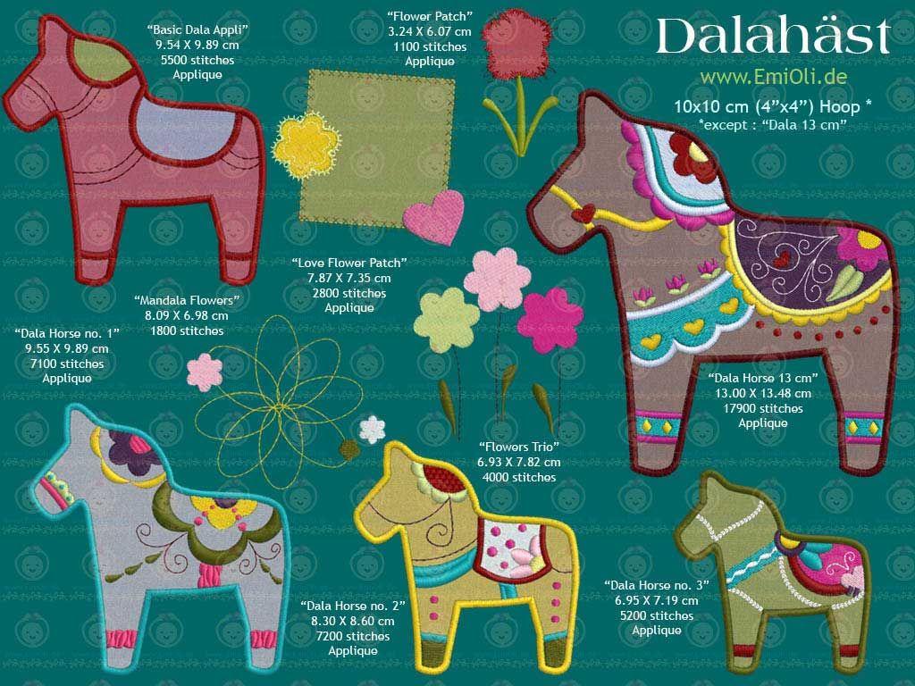 Dalarna Pferd pikotek i szpachelka dala machine embroidery