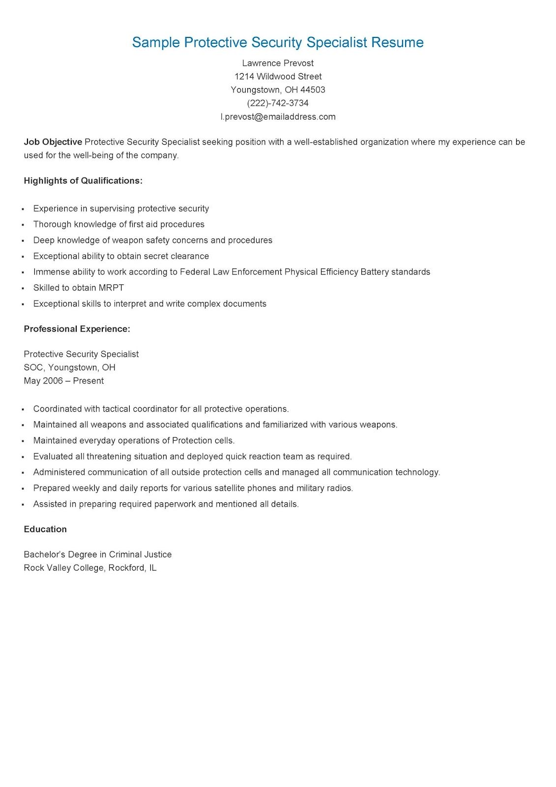 sample protective security specialist resume