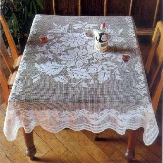 скатерть с цветами филейное вязание схемы вязание скатерти