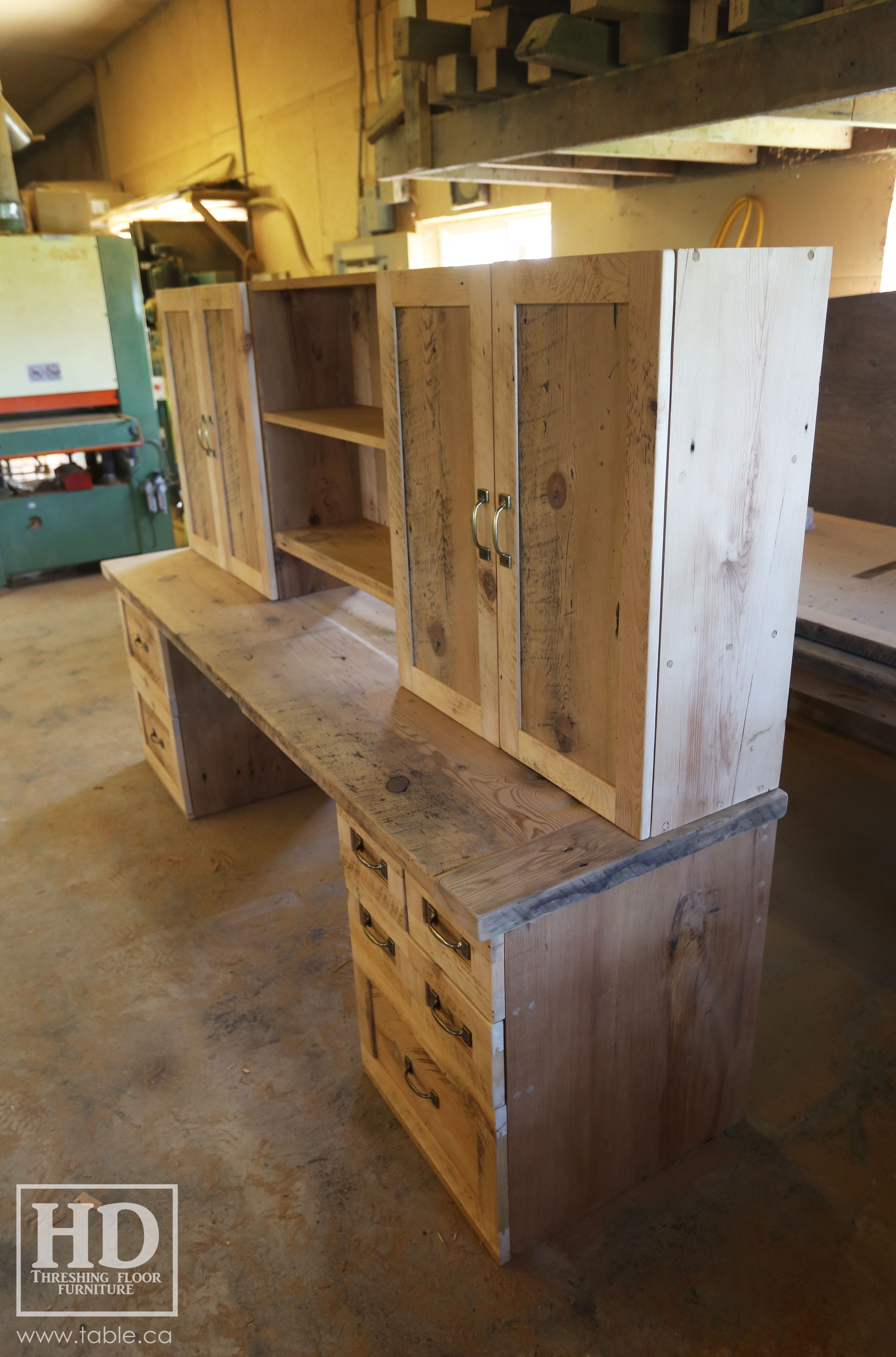 ontario reclaimed wood custom office desk by hd threshing floor rh ro pinterest com