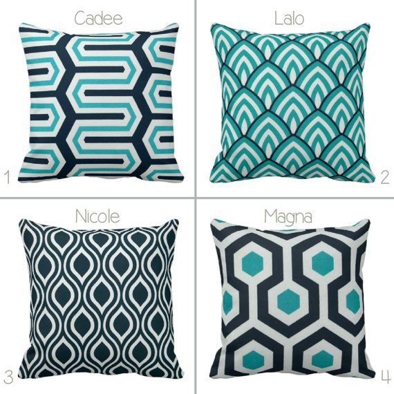 Bogo Indoor Outdoor Navy Teal Geometric Oxford 14x14 16x16 18x18 20x20 Turquoise Blue Removable Envelope Pillow Case Cushion Cover