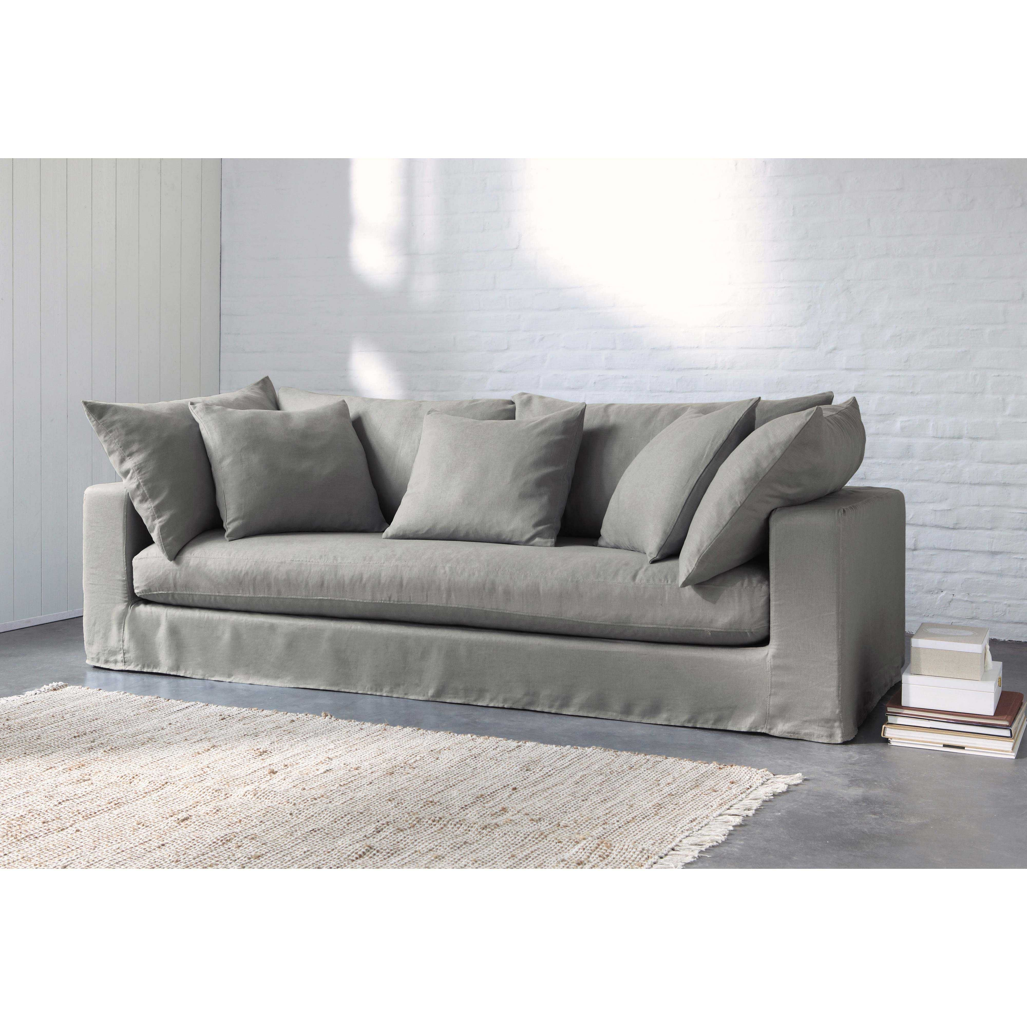 Sofá 3 plazas de lino lavado gris claro Gaspard