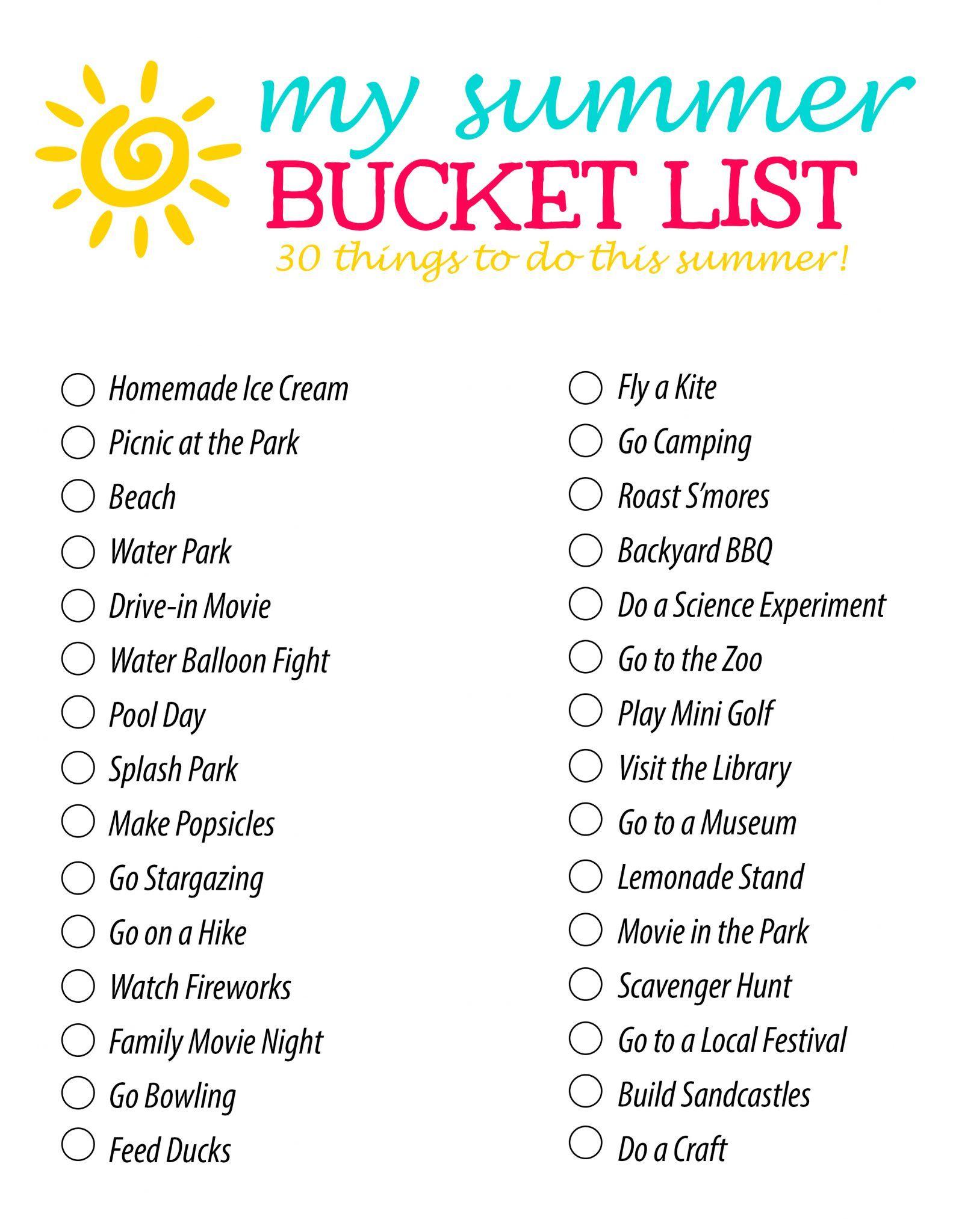 Summer Bucket List 30 Fun Summer Activity ideas for Families and