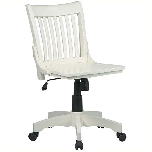 Charming OSP Designs Deluxe Armless Wood Bankeru0027s Desk Chair With Wood Seat    Antique White By Office Star Products