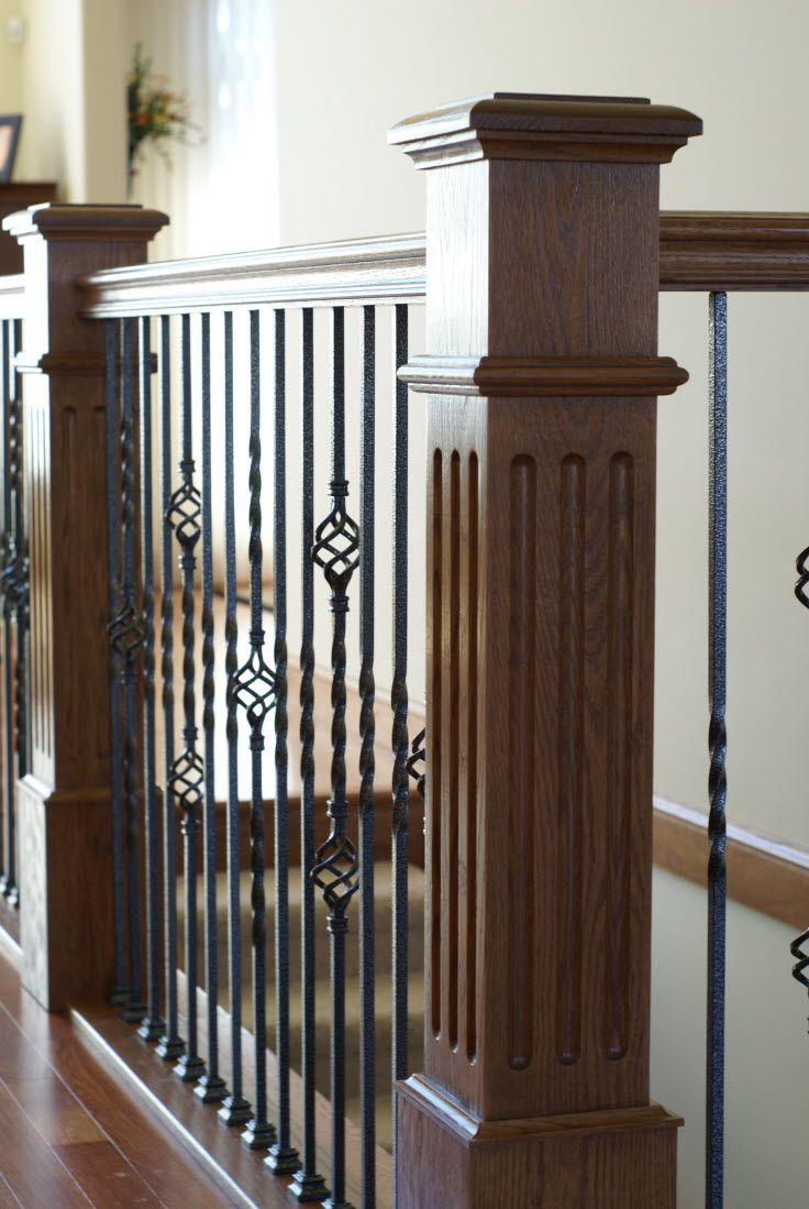 Stair Systems Square Fluted Box Newels With Wood Handrails And Wrought Iron Basket Balusters Bayer Bu Iron Stair Railing Staircase Design Staircase Remodel