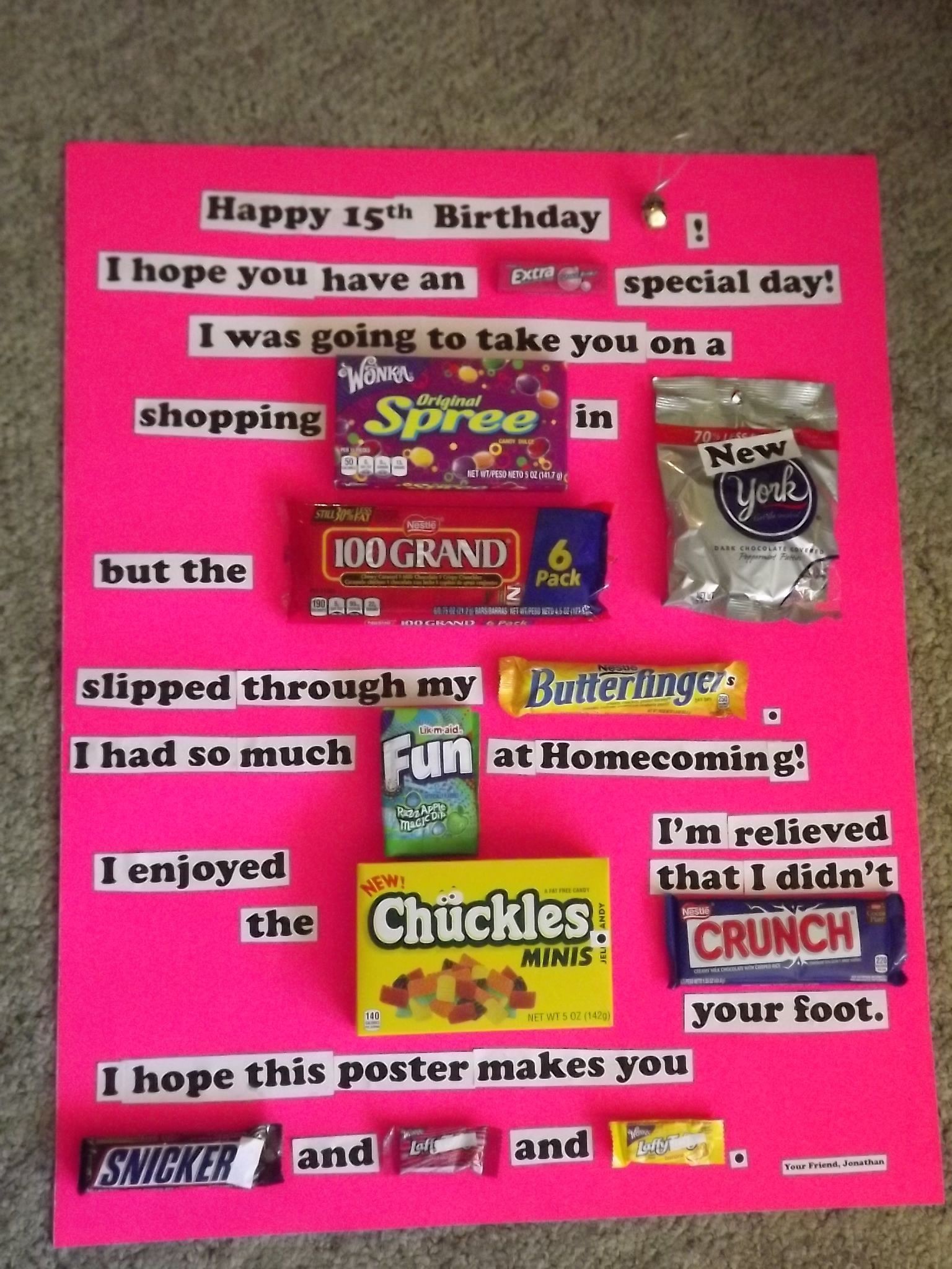This is a candy bar poster greeting card that my son made ...