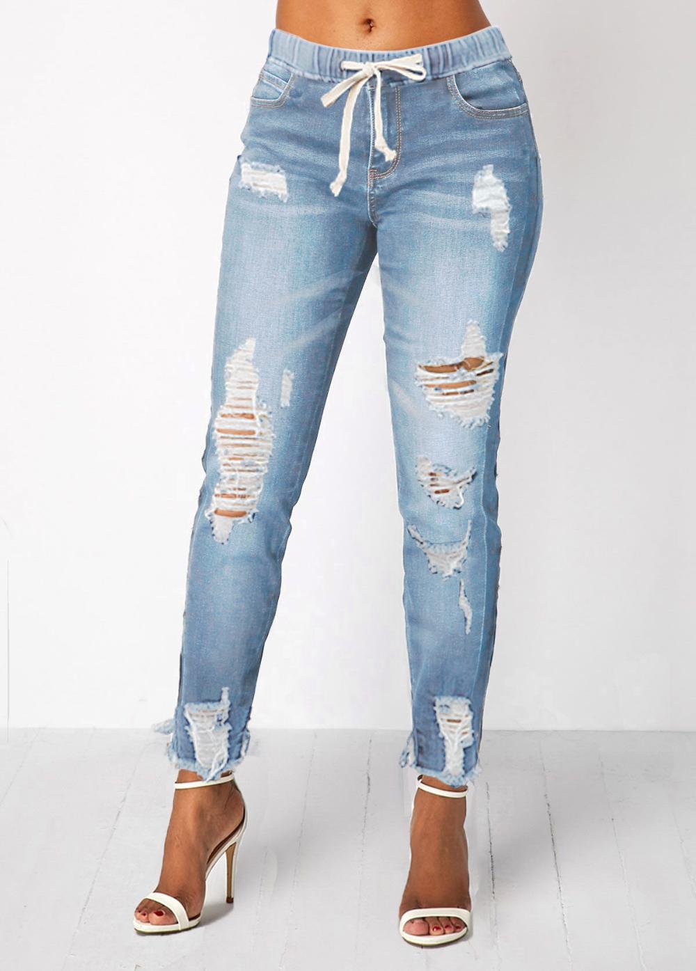 Photo of Pocket Light Blue Shredded Elastic Waist Jeans