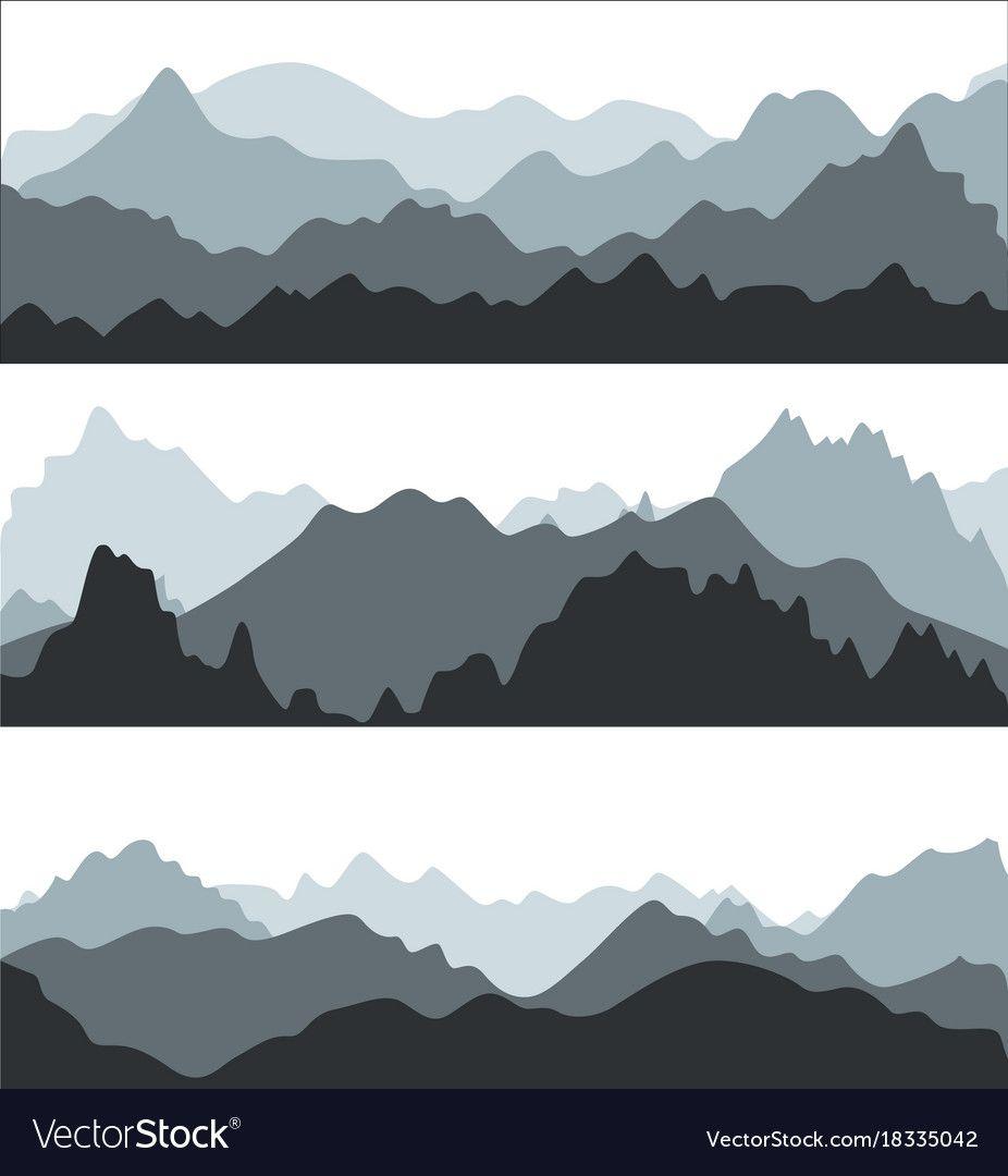 Best 12 Cartoon silhouette black mountains landscape vector image on VectorStock