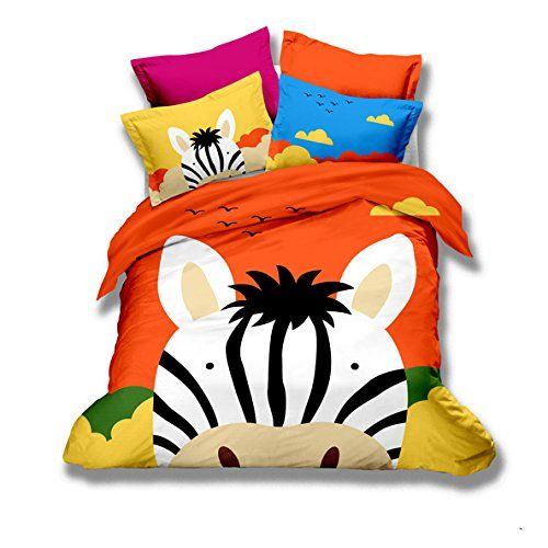 MeMoreCool Home Textile Cute Cartoon Animals Design Lovely Zebra Kids Students Colorful Bedding Set Girls Boys Duvet Cover Set 100 Cotton Bedding Twin Size 3Pcs >>> Check out this great product.