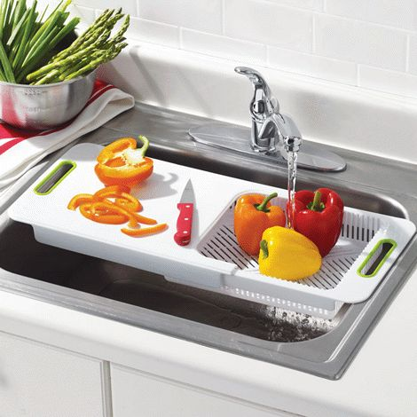 Avonu0027s Over The Sink Cutting Board With Colander Is A Space Saver That  Expands To Fit Most Kitchen Sinks. Perfect For Small Kitchens!