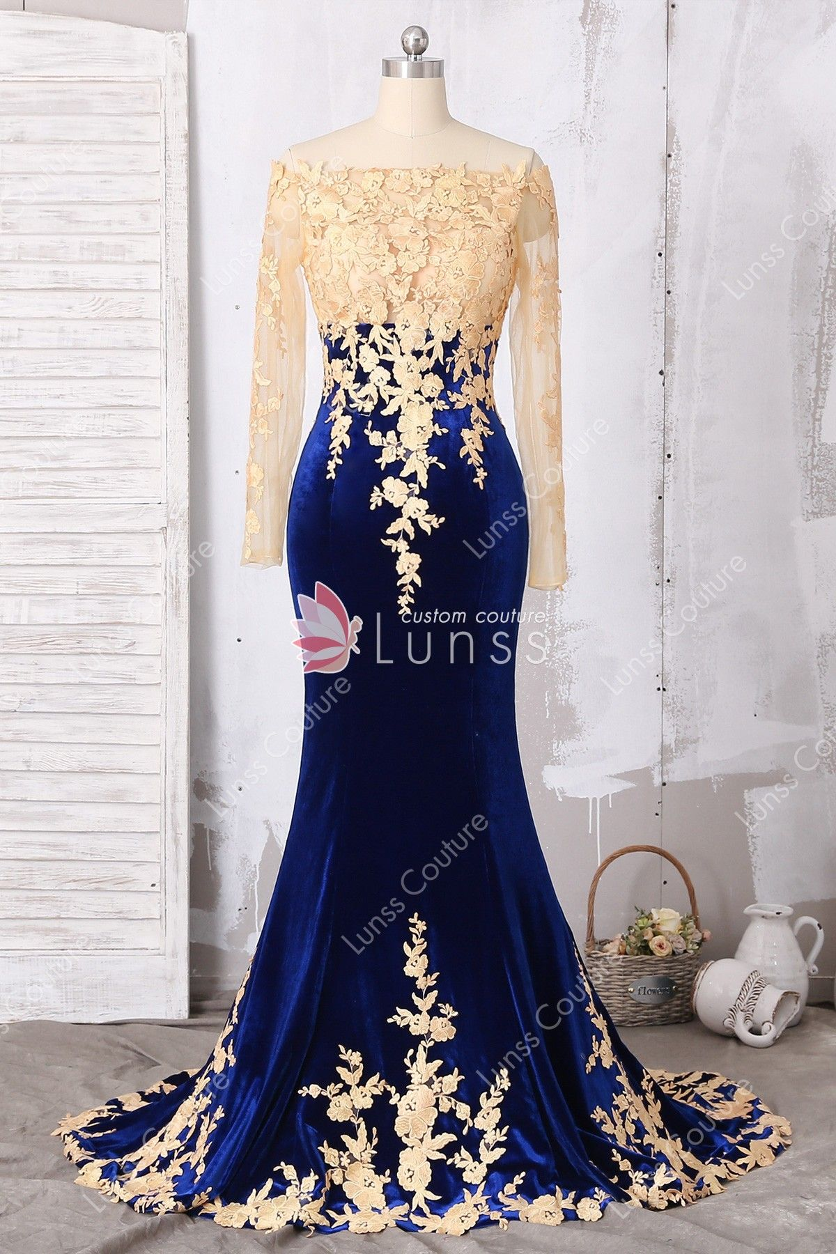 d727dbf33b5 Gold Lace Appliqued Illusion Long Sleeve Fit-n-flare Royal Blue Velvet Prom  Dress