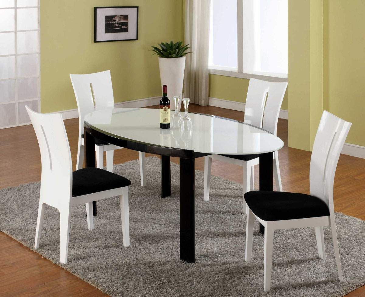 Contemporary Dining Room Tables And Chairs Fair Frosted Glass Top Modern Oval Dining Table With Microfiber Seats Design Decoration