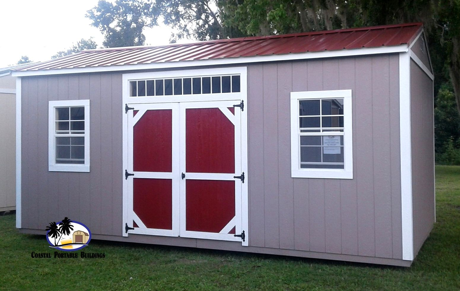 Side Garden Shed 10x20 Shown In Taupe With White Trim And Red Roof