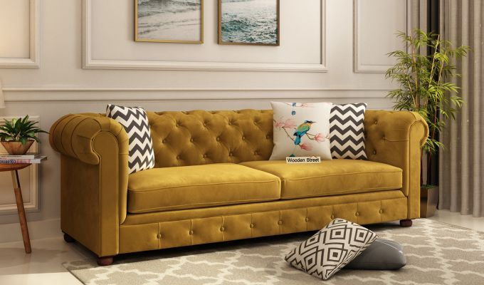 Buy Henry 3 Seater Sofa Velvet Chestnut Brown Online In India Wooden Street Sofa Couch Design Seater Sofa 3 Seater Sofa