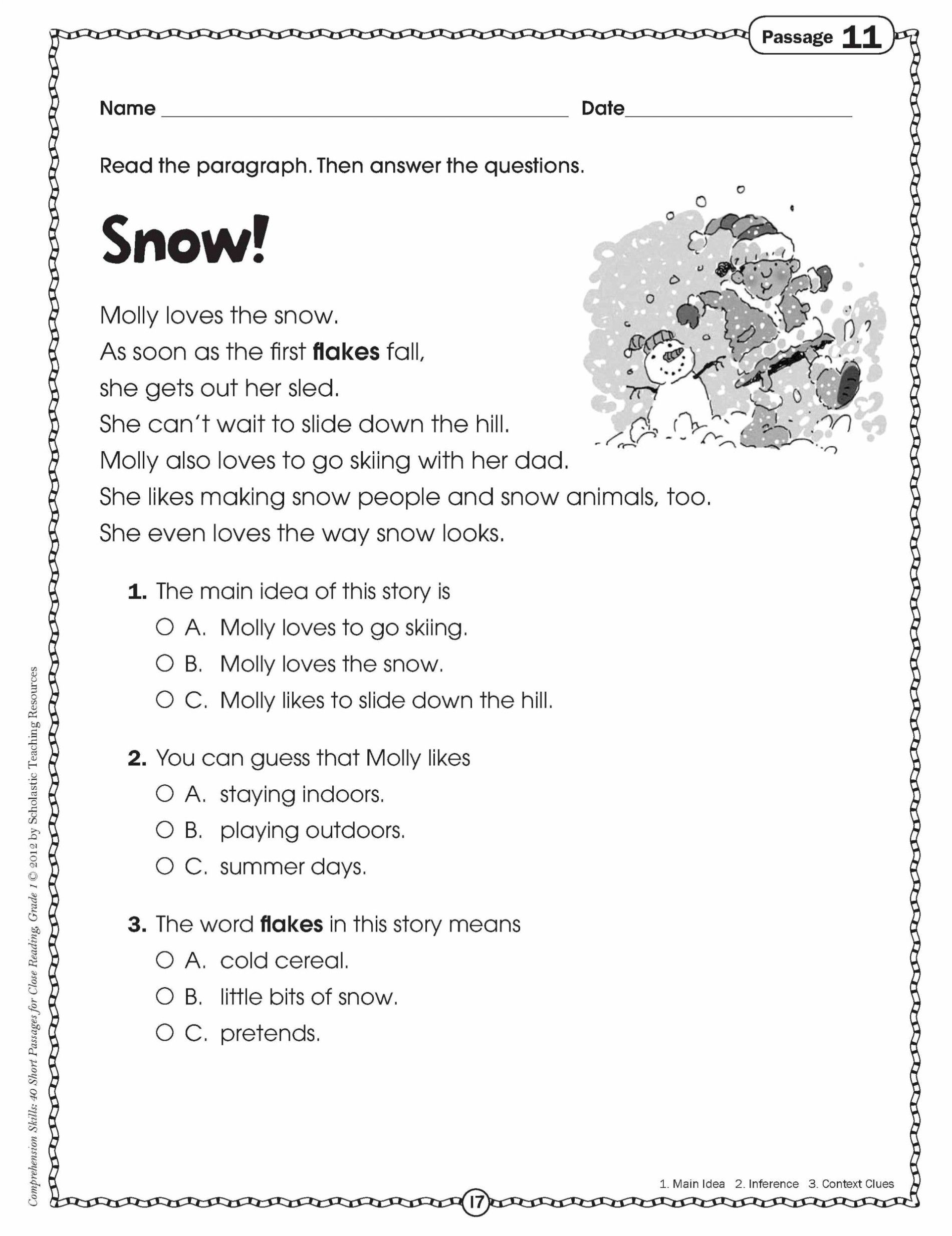 3rd Grade Reading Comprehension Worksheets Multiple Choice   Main idea  worksheet [ 2468 x 1900 Pixel ]