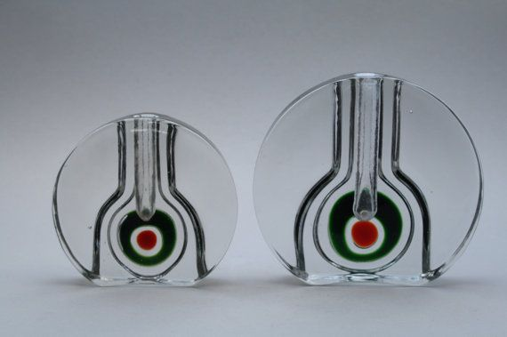 2 stunning vintage glass solifleurs designed by by RetroMinded. , via Etsy.