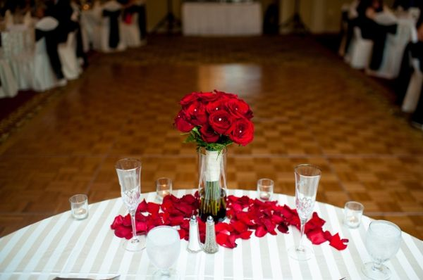 Red Rose Bouquet Petals Table Decor White And Black Wedding
