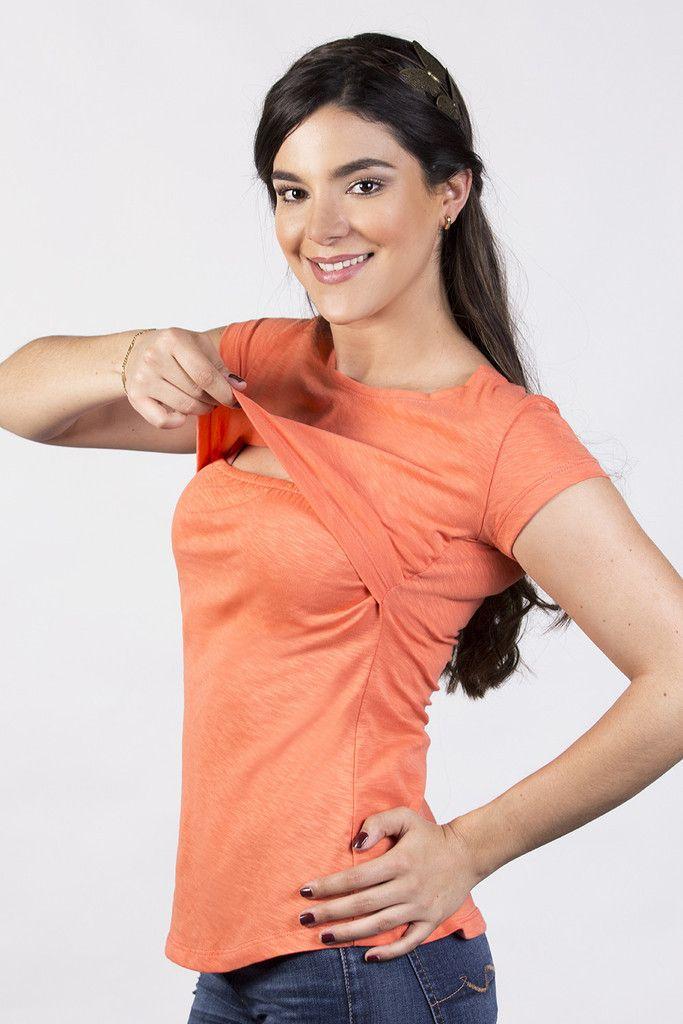 d5a8cbbdc Blusa cuello redondo para lactancia