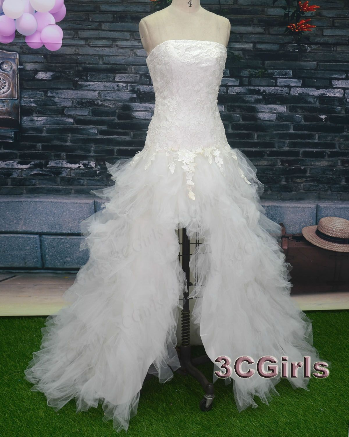 High low prom dress unique ball gown pretty white tulle strapless