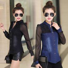 de camisa de camisa patchwork manga 2015 camisa jeans camisa jeans para vintage mezclilla mujeres mujer China feminina gasa blusa blusas larga mujer jeans wvA8AXHqF