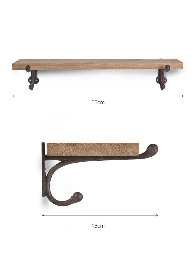 Cast Iron Brackets and Small Oak Shelves at Garden Trading | Idees ...