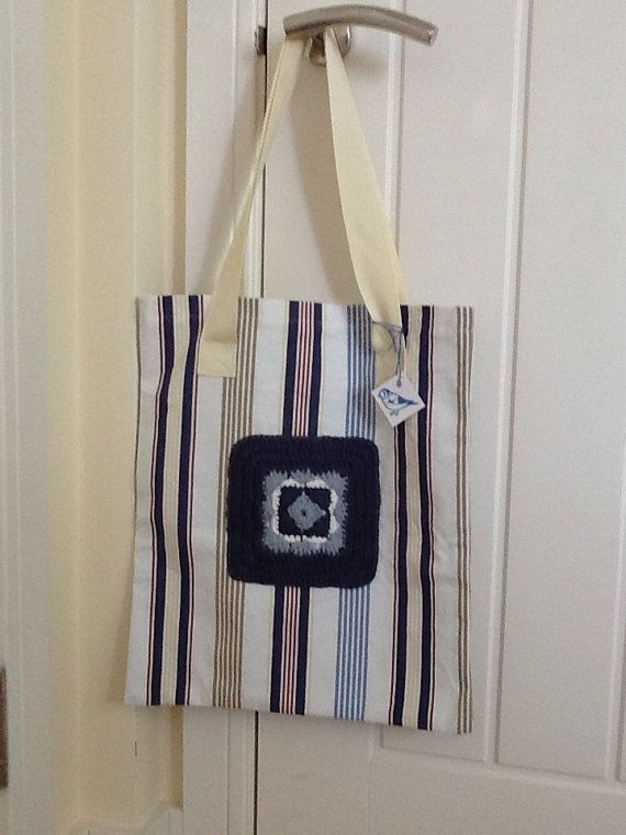 Nautical stripe crochet tote