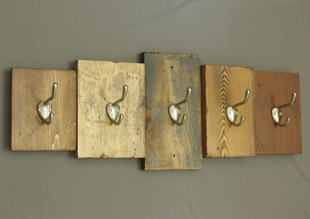 Rustic wooden coat rack, reclaimed wood cabin decor, wall ...