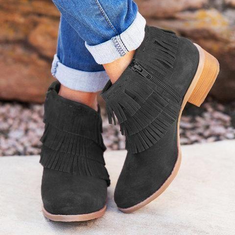 Women Square Heel Zipper Tassel Suede Boots