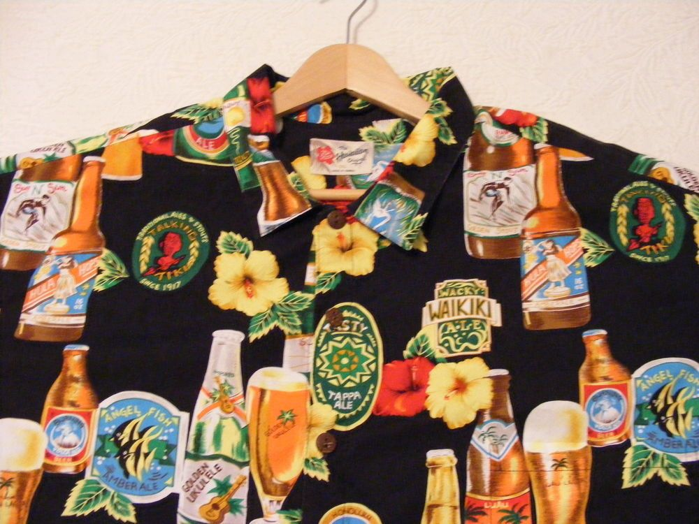 Hawaiian Shirt 5XL Beer Liquor Black Tropical Flower Hilo Hattie's