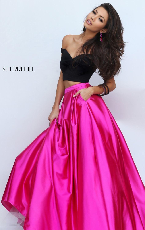 Sherri Hill 50194 Off the Shoulder Crop Top Prom Dress