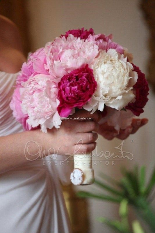 Bouquet Sposa Fucsia.Bouquet Di Peonie Rosa Fucsia E Bianche Flores Nel 2019