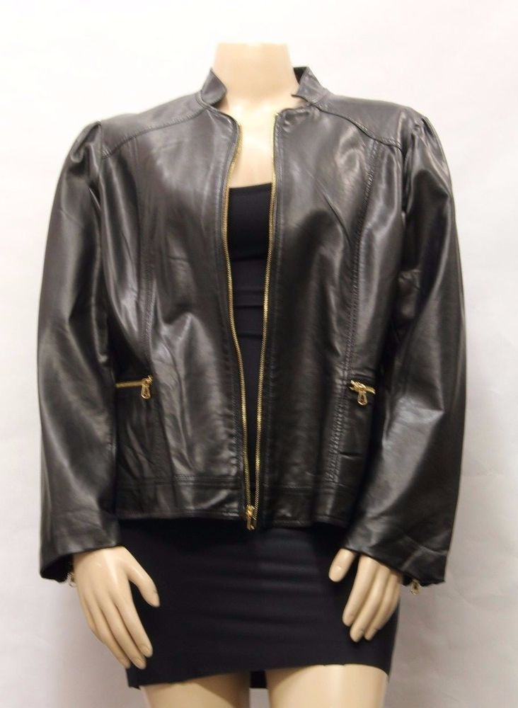 COLE BROOK CLASSICS Women Black Leather Jacket w Gold Hardware ...