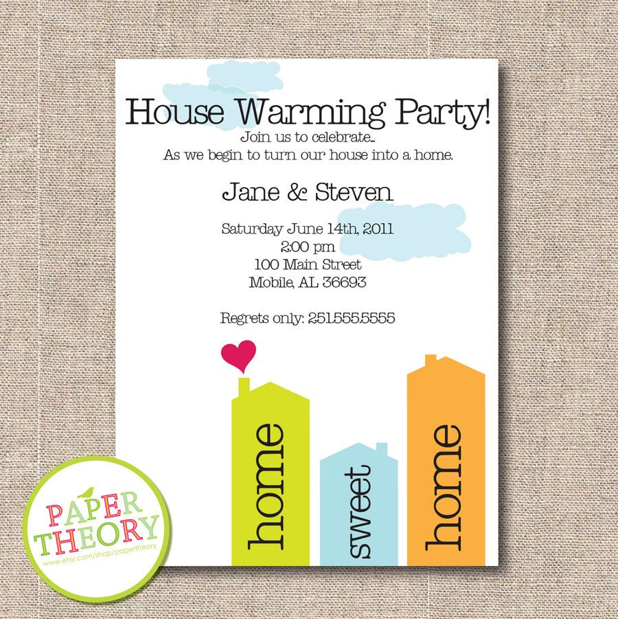 PRINTABLE House Warming Invite by papertheory on Etsy   Graphic ...