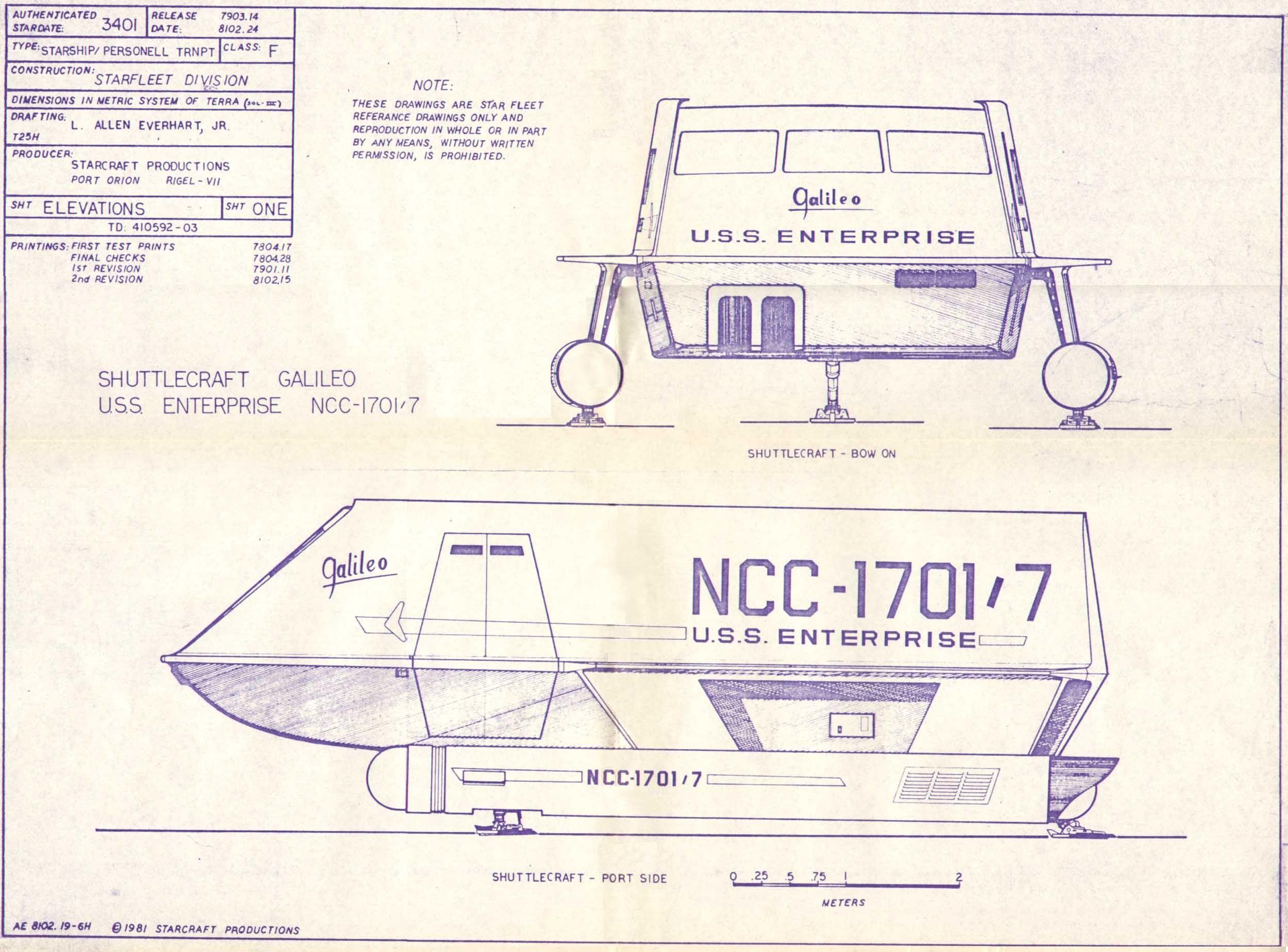 Star Trek Blueprints: Galileo Shuttlecraft NCC-1707/7 Plans ...
