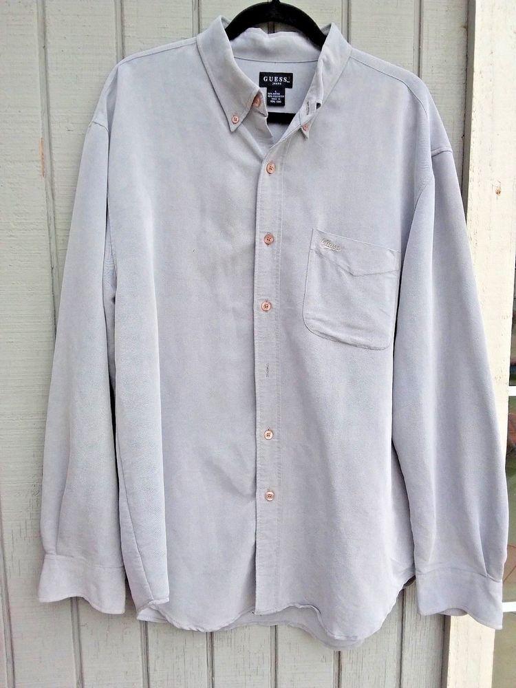 da20495390fd Large - XL Men's Dress Shirt Gray Button Down Long Sleeve Collar 1X Solid  GUESS #GUESS #NA